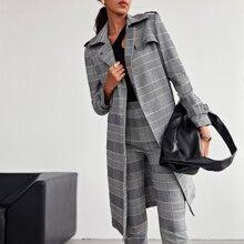 Flap Detail Pocket Side Glen Plaid Self Belted Overcoat