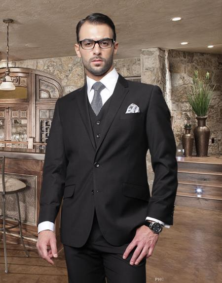 2 Button Black Suit with a Vest Supers Italian Wool Slanted Pocket