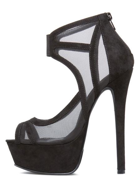 Milanoo Burgundy Sexy Shoes Women Shoes Platform Peep Toe Plus Size High Heel Sandals