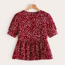 All Over Leaves Print Babydoll Blouse