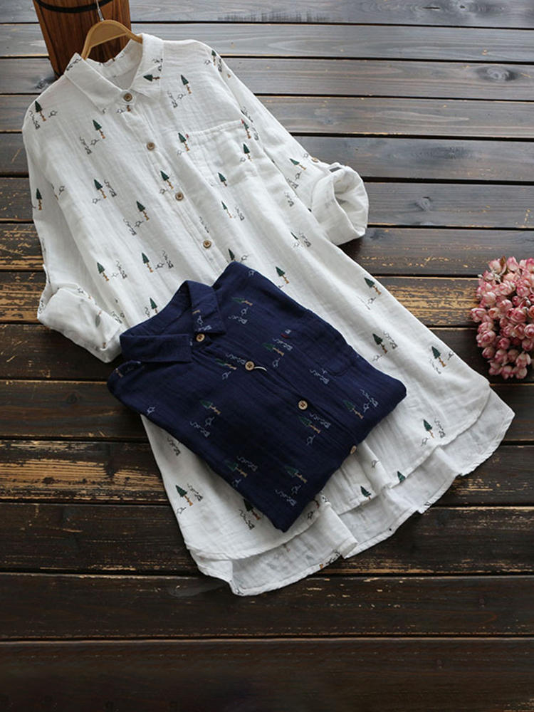 Casual Printed Lapel Long Sleeve Button Women Long Blouse