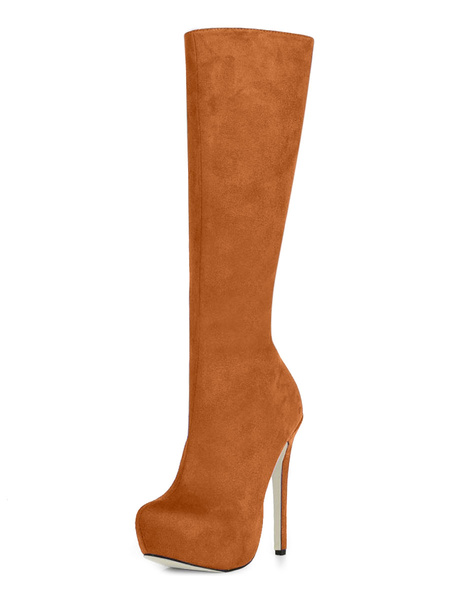 Milanoo con pala de saten elastico de puntera de forma de almendra Botas altas mujer 14cm de tacon de stiletto con cremallera Otoño Invierno