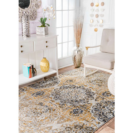 nuLoom Lita Faded Damask Rug, One Size , Yellow