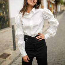 Collared Lantern Sleeve Buttoned Front Blouse