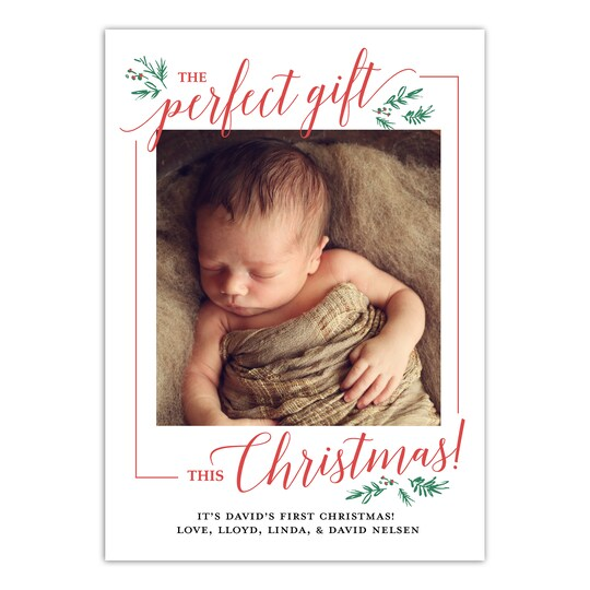 20 Pack of Gartner Studios® Personalized Baby's First Christmas Holiday Photo Card in Red | 5
