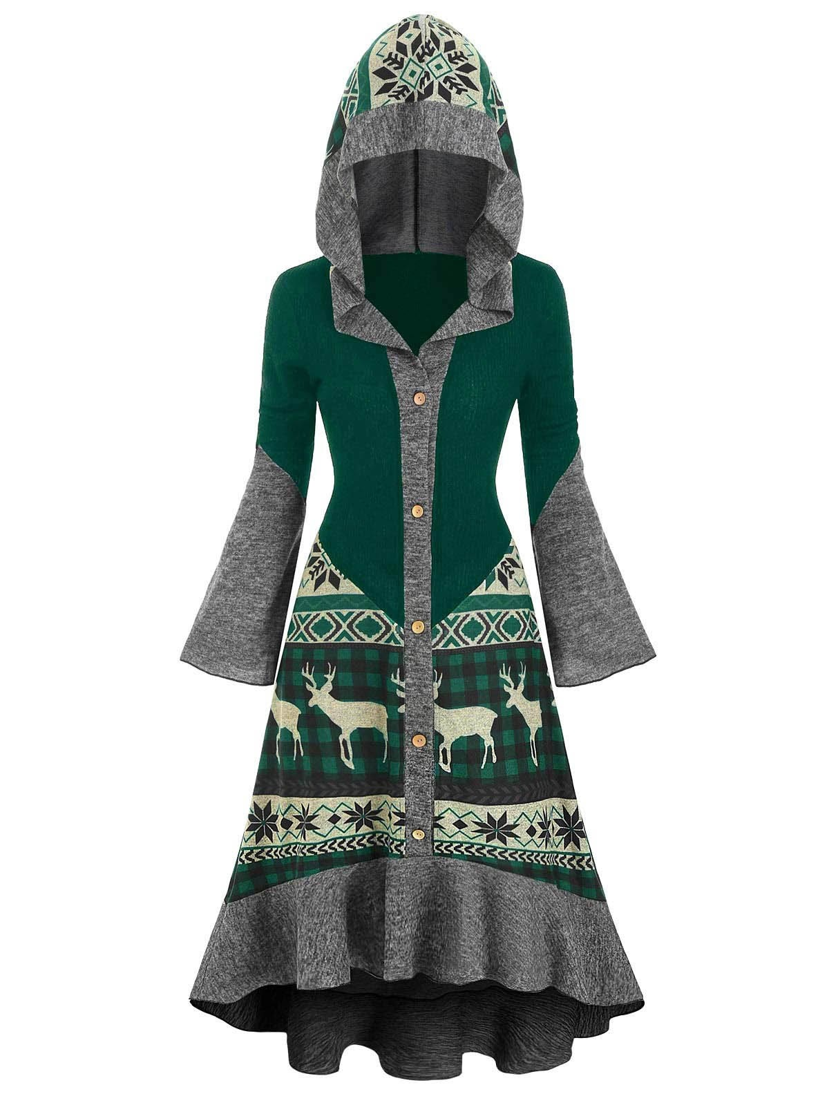 Christmas Elk Hooded Flippy Hem Knitted Dress