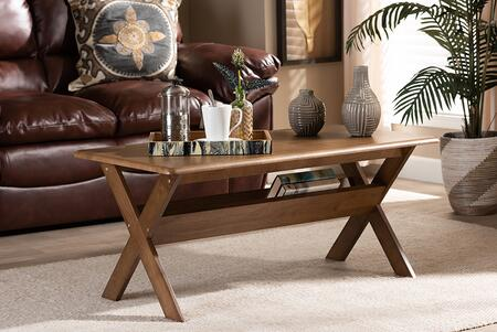 Sarai Collection SW3333-WALNUT-M17-CT Coffee Table with Transitional Style and Rubberwood Frame Construction in Brown