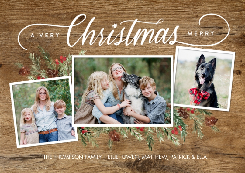 Christmas Photo Cards 5x7 Cards, Premium Cardstock 120lb with Scalloped Corners, Card & Stationery -Christmas Script Foliage Memories by Tumbalina