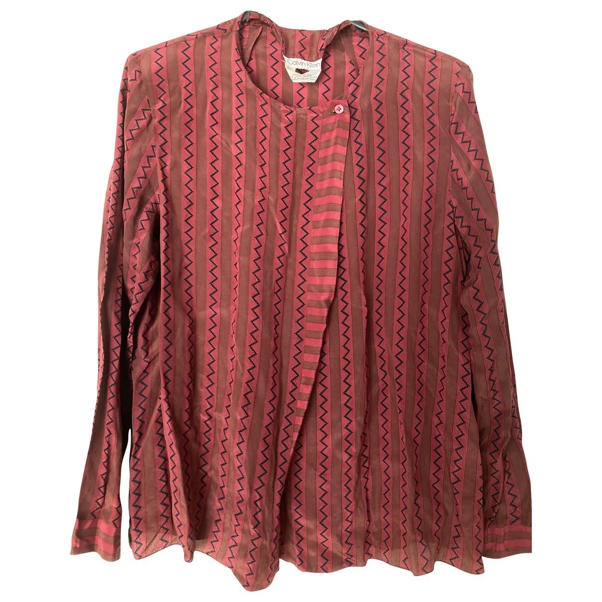 Calvin Klein - Top   pour femme en soie - bordeaux