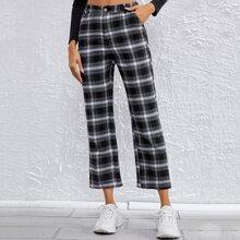 Hose mit schraegen Taschen und Plaid Muster