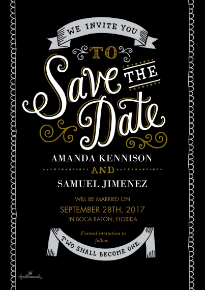 Save the Date 5x7 Cards, Premium Cardstock 120lb, Card & Stationery -Curly Lettering