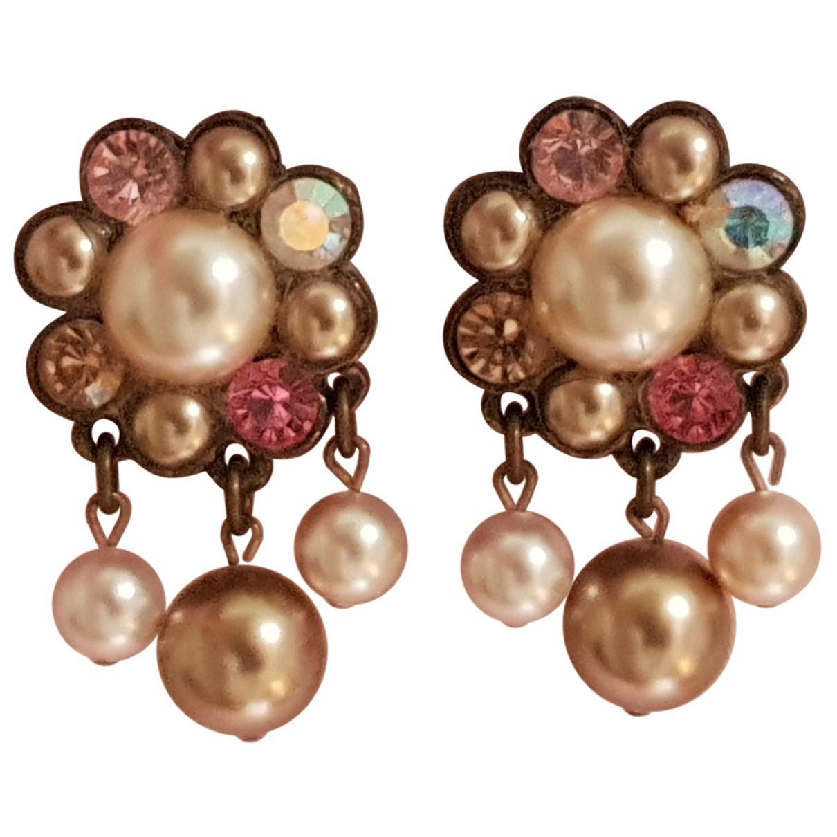 Non Signé / Unsigned Motifs Floraux Multicolour Pearls Earrings for Women N