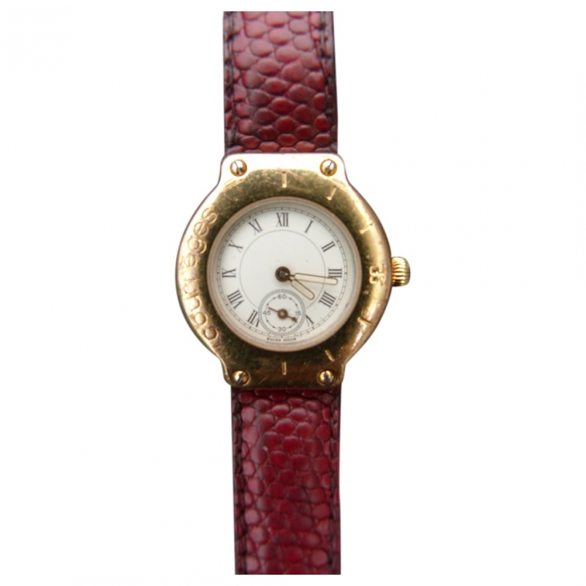 Courrèges \N Burgundy Gold plated watch for Women \N