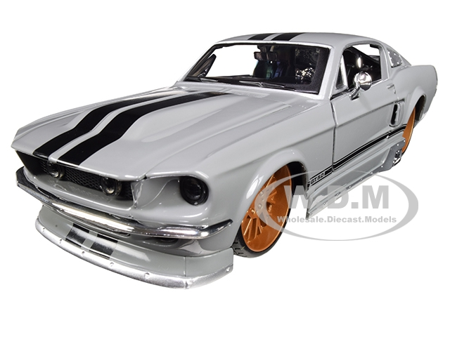 1967 Ford Mustang GT 5.0 Gray with Black Stripes