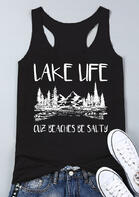 Lake Life Cuz Beaches Be Salty Tank - Black