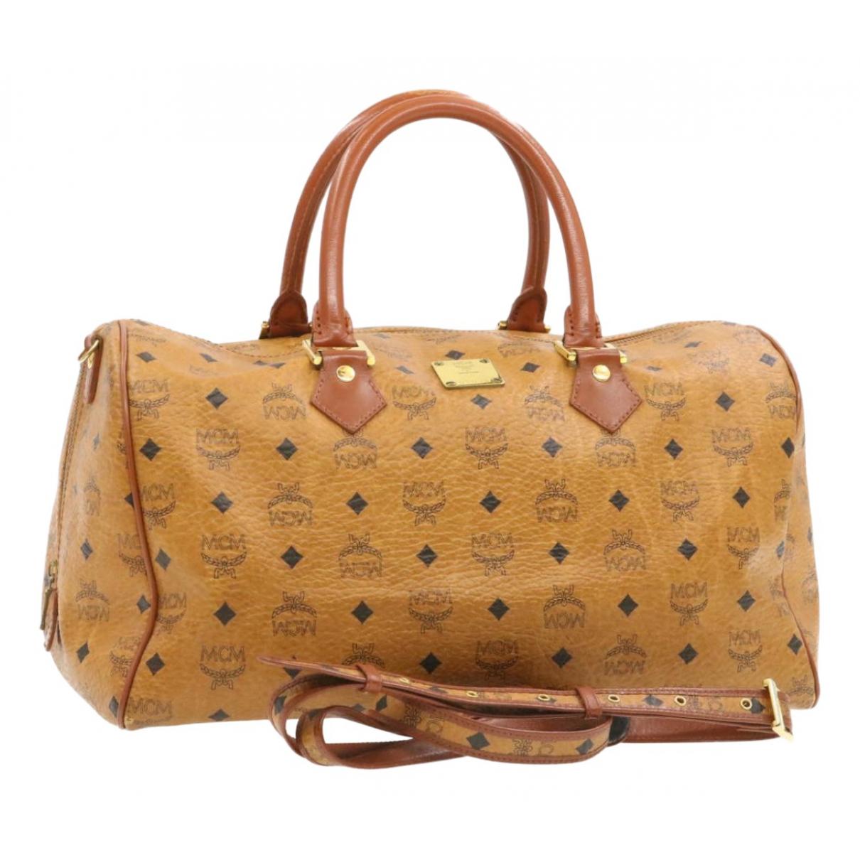 Mcm Boston Brown Leather Travel bag for Women N