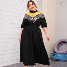 Grosse Grossen - Kleid mit halbem Reissverschluss, Farbblock, Chevorn und Leopard Muster