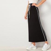 Drawstring Waist Tape Side Pencil Skirt