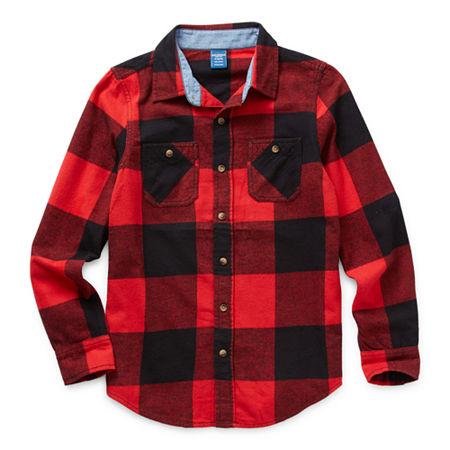Arizona Little & Big Boys Long Sleeve Flannel Shirt, Medium (10-12) , Red