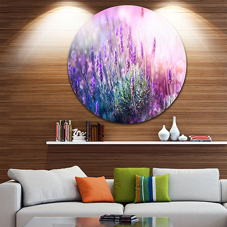 Design Art Growing and Blooming Lavender Circle Metal Wall Art, One Size , Purple