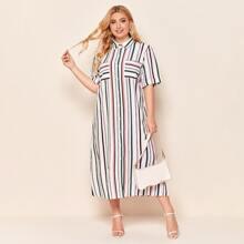 Plus Cuffed Sleeve Split Hem Striped Shirt Dress