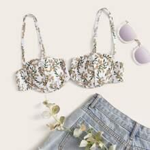 Bikini Top mit Blumen Muster, V Ausschnitt und Buegel