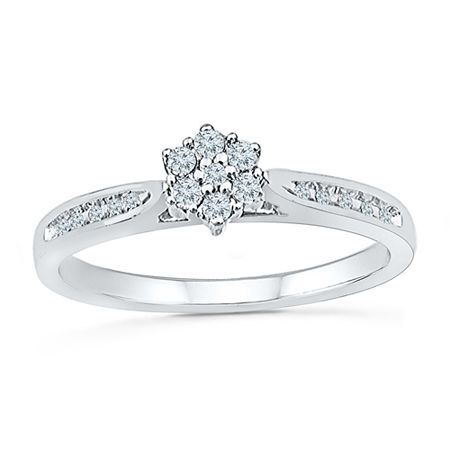 Promise My Love Womens 1/6 CT. T.W. Genuine White Diamond 10K Gold Promise Ring, 6 , No Color Family