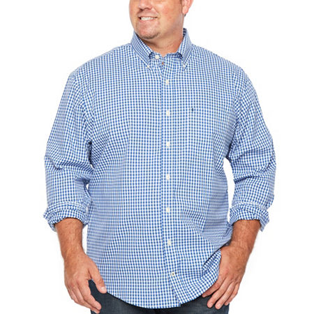 IZOD Big and Tall Premium Essential Wovens Mens Long Sleeve Gingham Button-Down Shirt, 3x-large , Blue