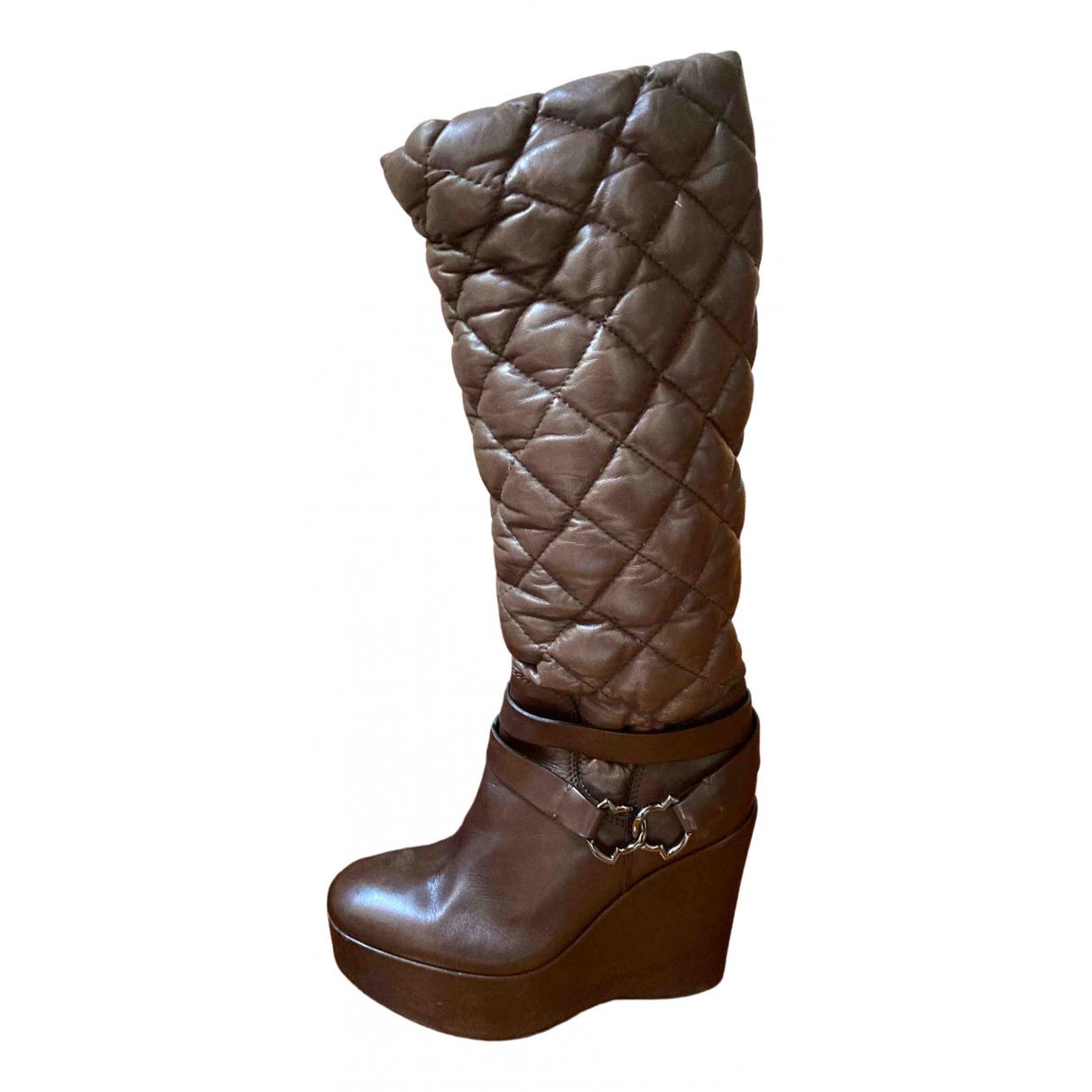 Moncler \N Stiefel in  Braun Leder