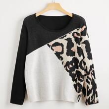 Pullover mit Farbblock und Grafik Muster