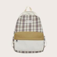 Color Block Pocket Front Plaid Backpack