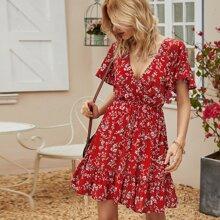 Floral Print Ruffle Hem Surplice Dress