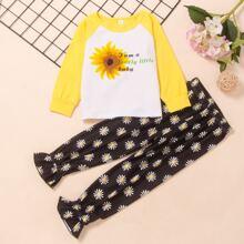 Toddler Girls Slogan And Sunflower Print Tee & Pants
