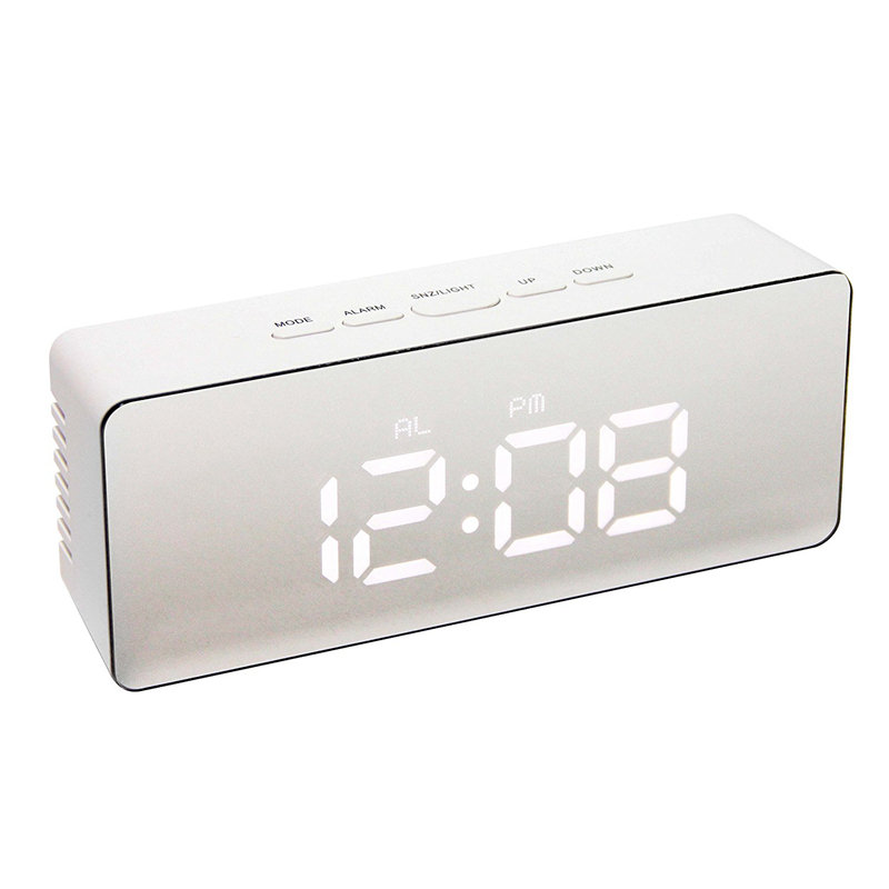 Digital LED Alarm Clock Multifunction Silent Mirror Clock LCD Display Night Light Time Temperature