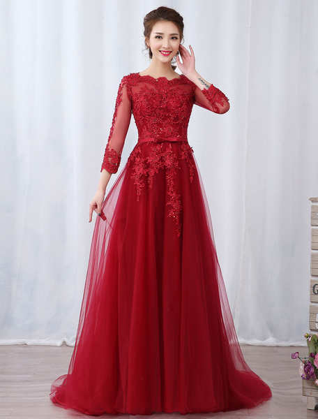 Milanoo Burgundy Evening Dresses Long Sleeve Lace Applique Beaded Formal Gown With Train