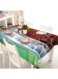 Vivid Waterfall and Tree Pattern 3D Tablecloth