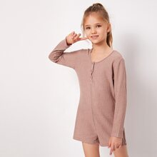 Girls Solid Button Detail Long Sleeve Romper