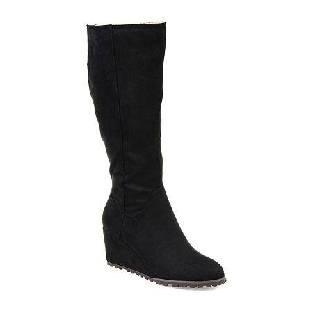 Journee Collection Womens Parker Dress Wedge Heel Zip Boots, 7 1/2 Medium, Black