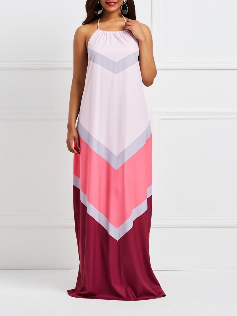 Ericdress Pink Backless Geometric Color Block Maxi Dress