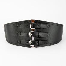 Cinturon ancho con hebilla metalica triple