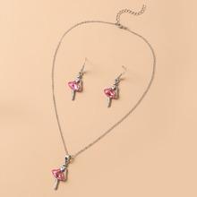 3pcs Girls Rhinestone Decor Jewelry Set