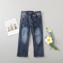 Toddler Boys Scratch Detail Straight Leg Jeans