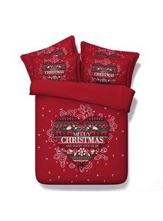 Festive Red Merry Christmas Print 5-Piece Comforter Sets