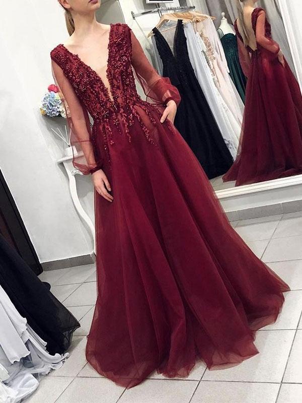 A-Line V-Neck Long Sleeves Floor-Length Evening Dress