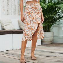 Wrap Belted Floral Skirt