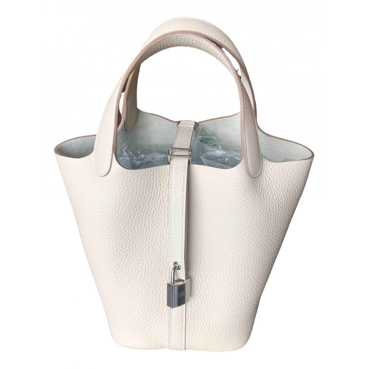 Hermès Picotin White Leather handbag for Women \N