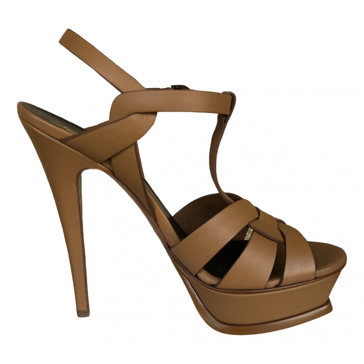 Saint Laurent Tribute Camel Leather Sandals for Women 38 EU