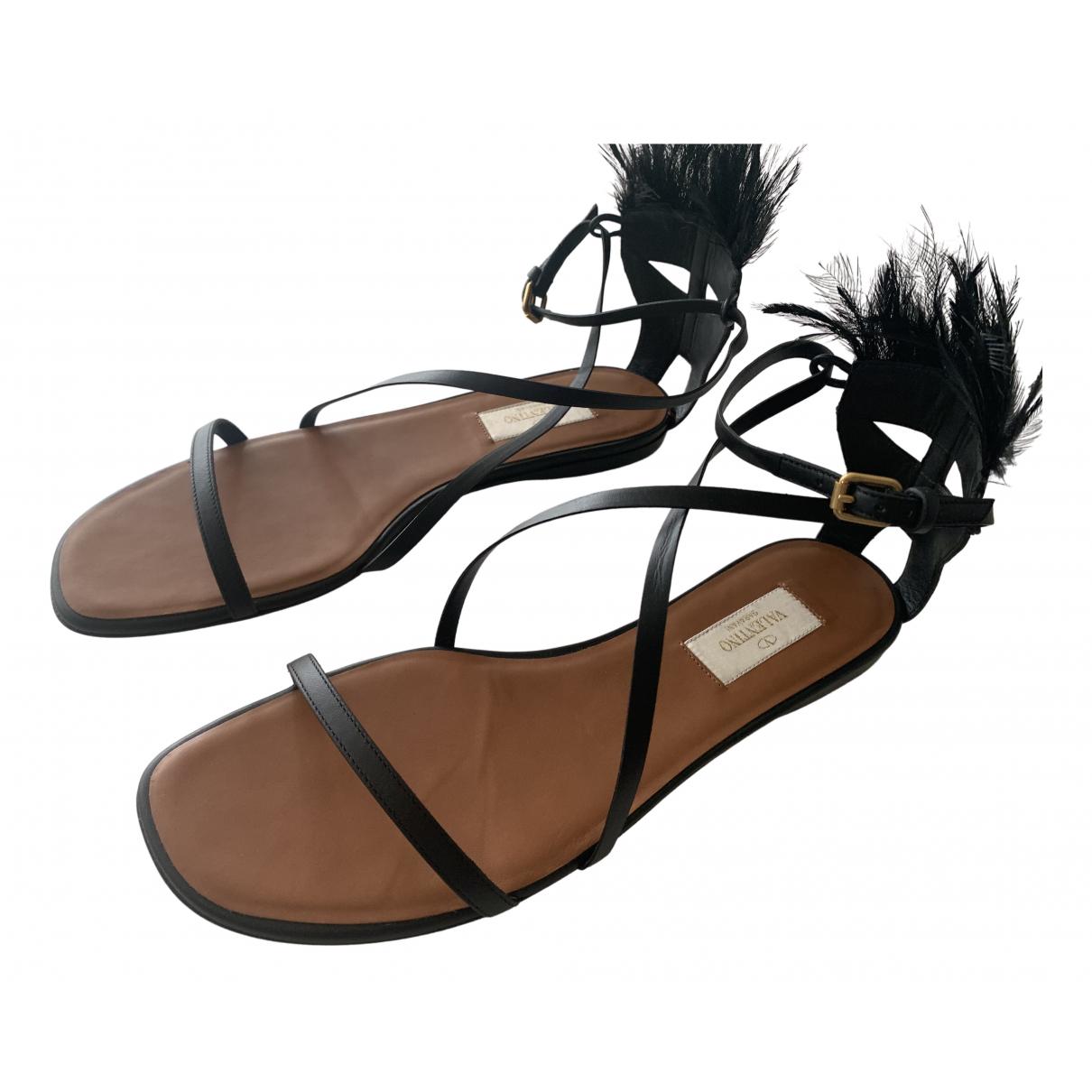 Valentino Garavani N Black Leather Sandals for Women 40 EU