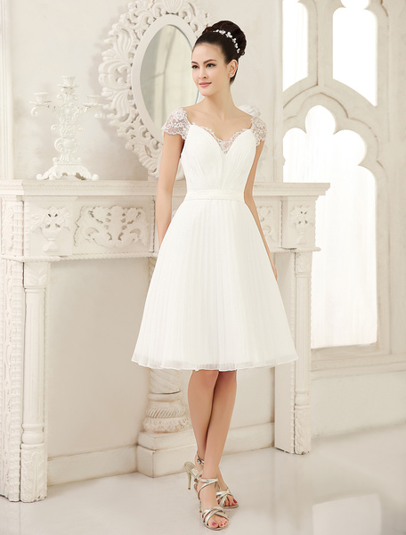 Milanoo Simple Wedding Dresses Ivory A Line V Neck Ruched Knee-Length Bridal Dresses
