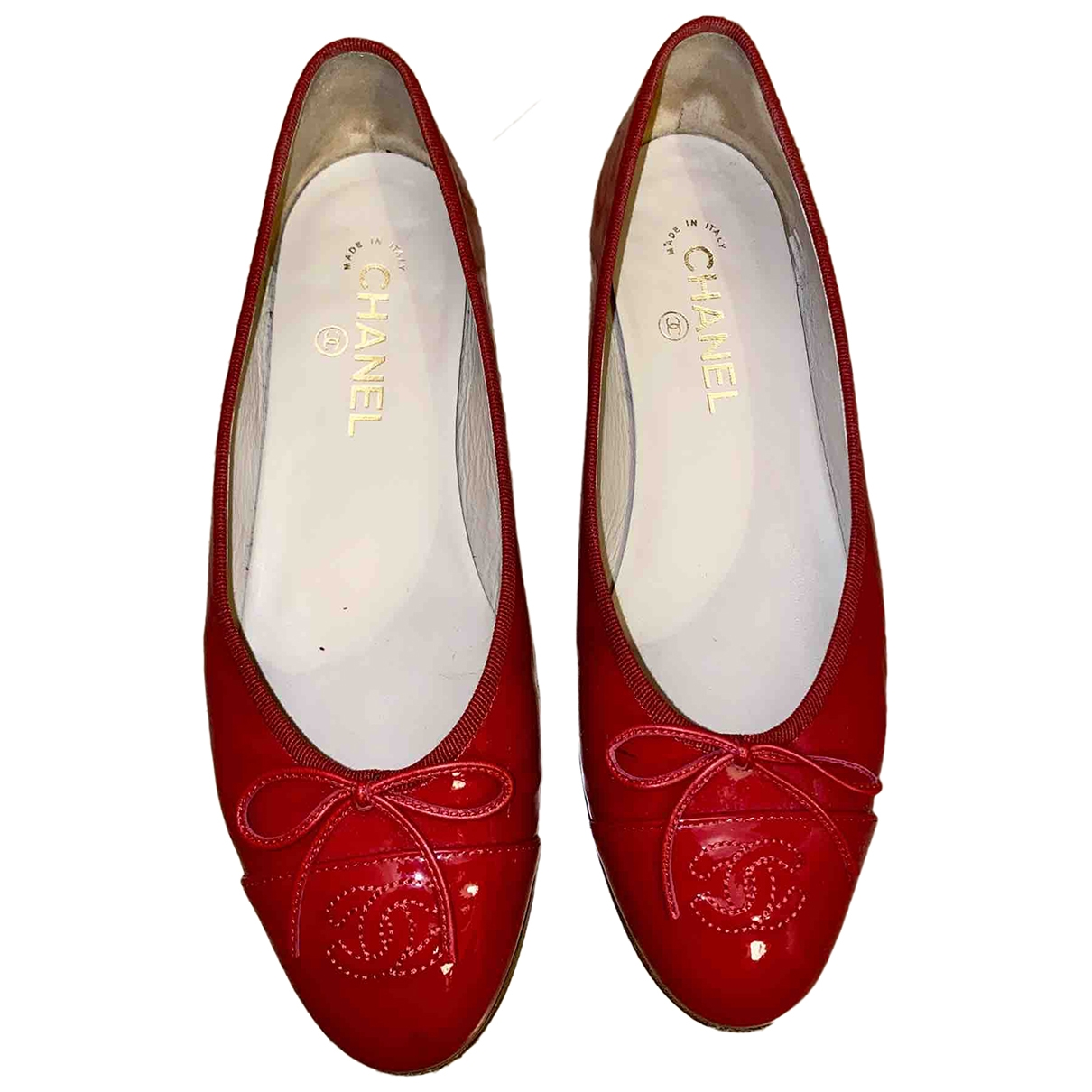 Chanel - Ballerines   pour femme en cuir verni - rouge